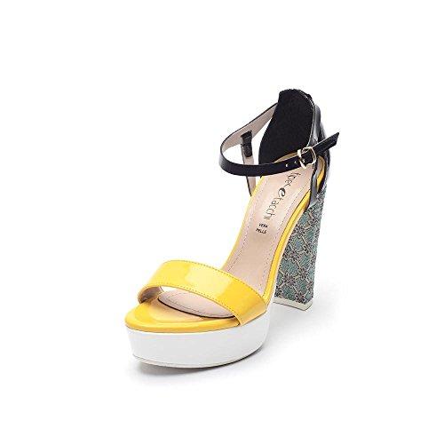 Tipe e Tacchi / sandali con tacco donna colore giallo/blu/nero/bianco-tessuto fiorato verde