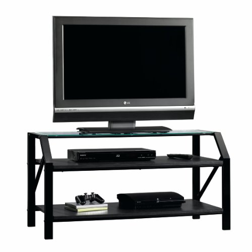 Panel TV Stand Entertainment Center - Black/Clear Glass