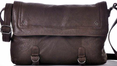 CONTEMPO Cntmp Saddle-Bag Schultertasche Crossover Schafleder Tasche Braun 35x21 cm (BxH)