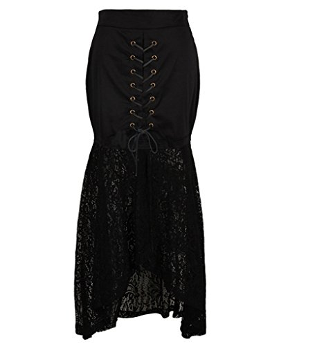 Dressation-Womens-Vintage-Steampunk-Gothic-Cotton-Lace-Black-Party-Gypsy-Skirt