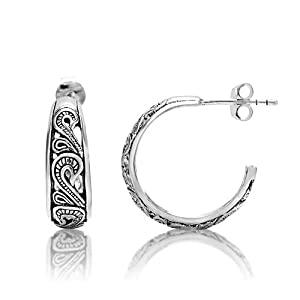 925 Oxidized Sterling Silver Filigree Bali Inspired Half Hoop Post Earrings Women Jewelry - Nickel Free from Chuvora