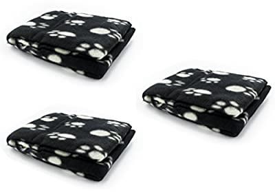 MEGA VALUE 3 x Black Soft Fleece Warm Pet Dog/Cat Bed Blankets