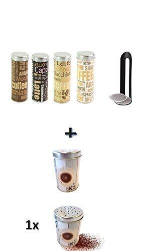 Bote-pour-dosettes-de-caf-Espresso--75x-18cm-Assortis-padauf-prservation-Rangement-Bote--caf-Bote-de-conservation-en-mtal-fine-Caf-Chocolat-et-poivrire-Mtal