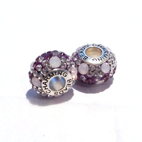A Beautiful Opal & Swarovski Elements Crystal Charm, Silver 925 Core Bead - will fit most European ladies charm bracelets.