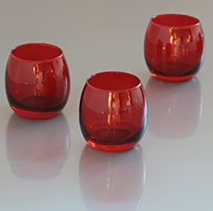 set of 72 red glass optic votive tealight candle holders red kitchen home. Black Bedroom Furniture Sets. Home Design Ideas