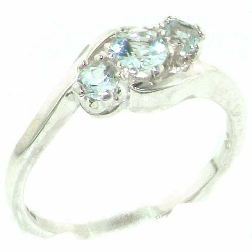 Luxury Solid English Sterling Silver Natural Aquamarine Trilogy Ring - Size 11.75 - Finger Sizes 4 to 12 Available - Suitable as an Anniversary ring, Engagement ring, Eternity ring, or Promise ring