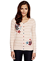 Per Una Pure Cotton Leaf & Floral Embroidered Cardigan