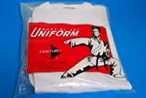 Century Karate Martial Arts Uniform With Belt Medium Weight White Cotton Elastic Waistband & Drawstring For Adult & Children Size 000 - 7 (Size 0 55-70lb 3ft 10in - 4ft 3in)
