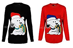 Womens Ladies Knitted Snoopy Dog Present Xmas Novelty Christmas Top Jumper