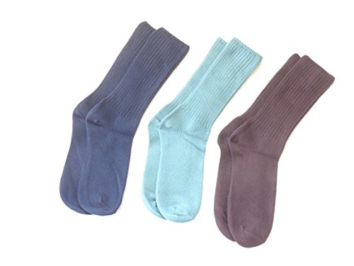 Maggie'S Organic Crew Socks - Tri-Pak Navy, Eggplant And Denim In Two Sizes front-796051