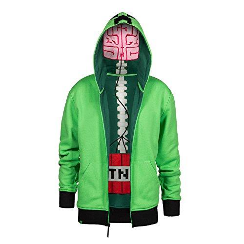 Minecraft Creeper Anatomy Premium Zip-Up Youth Green Jacket Hoodie Medium