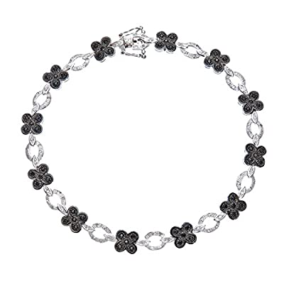 Ariel 9ct White Gold Black Diamond Flower Link Bracelet