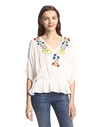 Raga Women's Short Sleeve Caftan Embroidered Top