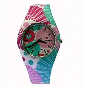 Style Gift Women Ladies Flower Print Rubber Unisex Quartz Watch SG1237-#4