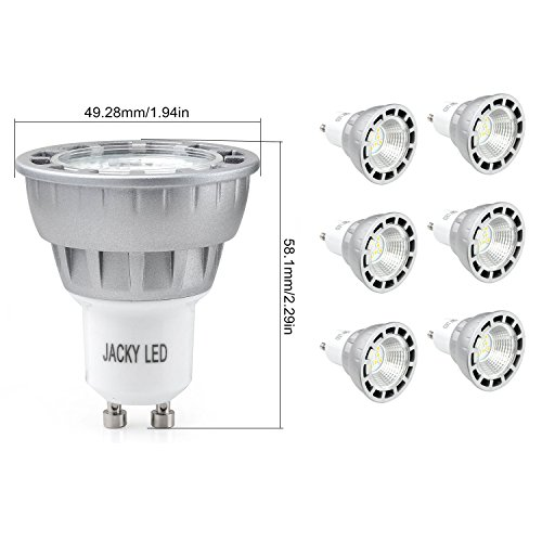 6 x GU10 6W 60W Equivalent Warm White 3000K Ultra Bright Spot Light Lamp Bulbs,Glass Lens Replacement Bulb Equivalent to 50W-60 Watt Halogen,38 Degree Beam Angle New JACKYLED Technology SMD Chips Rece