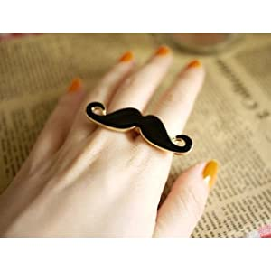 SODIAL- Handlebar Mustache Vintage Adjustable Double Ring