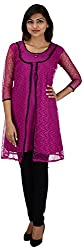 NelNik Women's Net Regular Fit Kurti (SKU_Nel016_Small, Purple, Small)