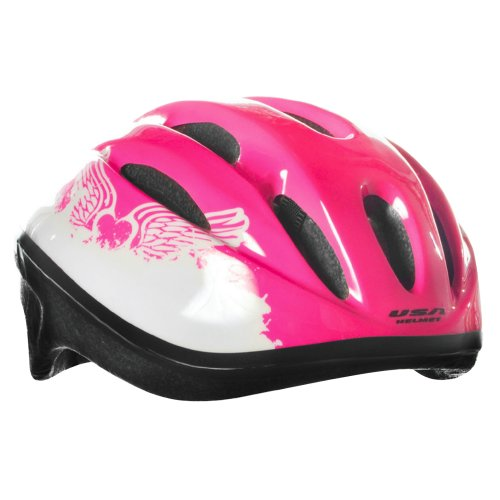 USA Helmet V-10 Youth Bicycle Helmet, Magenta with Winged He