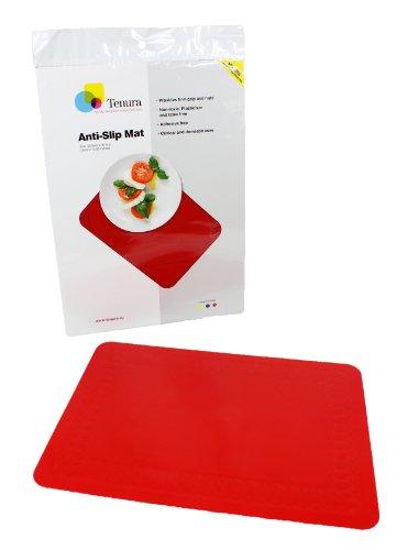 "Tenura 75373-3501 Red Silicone Non-Slip Table Mat, 13-3/4"" Length x 10"" Width"