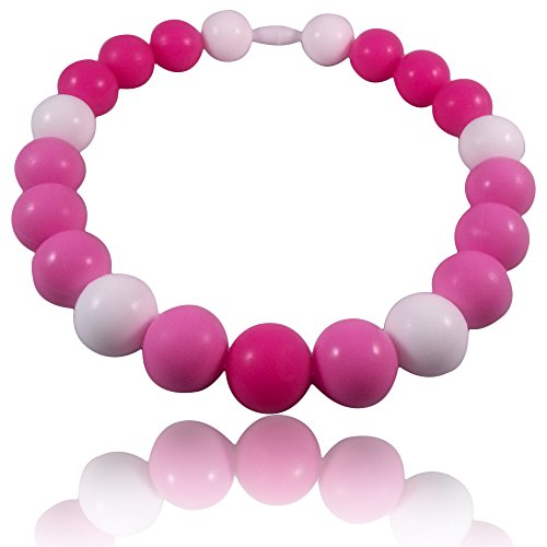 Tickled Pink Baby Teething Necklace-Made With 100% Food Grade Silicone Teething Beads. Chewable Jewelry For Teething Babies & Children.