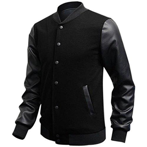 Minetom Uomo Moda College Baseball Jacket Giubbotto Felpa - PU Cuciture in Pelle ( Nero IT 50 )