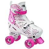 Roller Derby Girls Trac Star Adjustable Roller Skate, White/Pink, Large 3-6