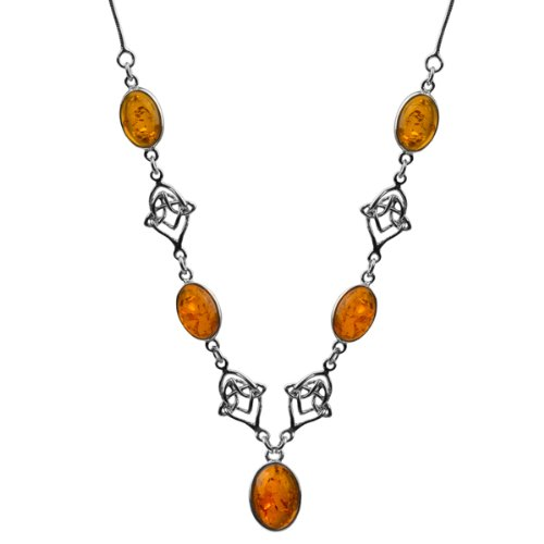 Sterling Silver Honey Amber Celtic Necklace