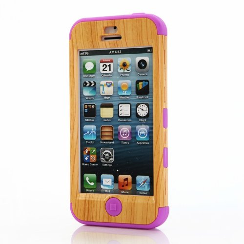 Gaogao Unique Handmade Natural Wood [Silicon]wooden Hard Bamboo Case Cover for Iphone 5c /Pinkwith High Quality Screen Protector