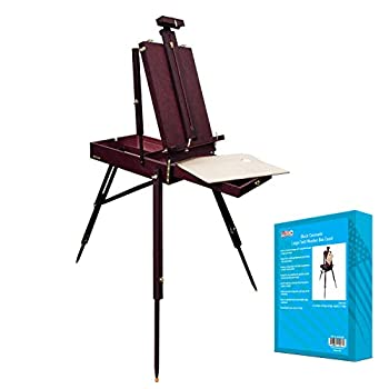 US Art Supply Black Cherry Coronado French Style Easel & Sketchbox with 12