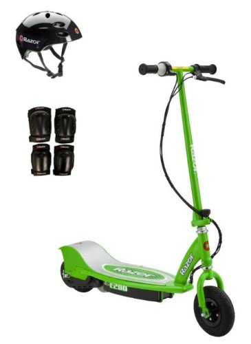 Razor E200 Electric Motorized Scooter (Green) With Helmet, Elbow & Knee Pads