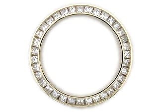 Ladies 2ct Princess Cut Diamond Bezel 14ky for Rolex