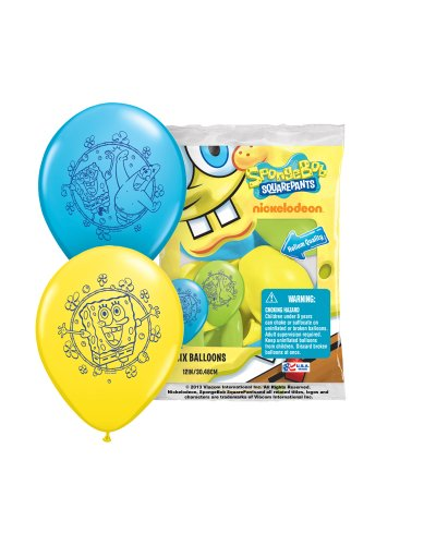 "Pioneer National Latex Sponge Bob Square Pants 12"" Latex Balloons, 6 Count - 1"