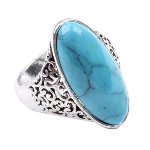 CA Blue Turquoise Fashion Women's Ring Jewelry