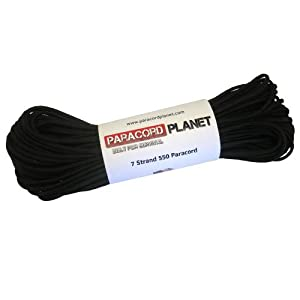 Paracord Planet Mil-Spec Commercial Grade 550lb Type III Nylon Paracord 25 feet Black