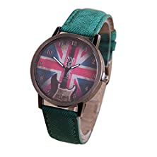 buy Tonsee Retro Guitar British Flag Pattern Woman Watch (Green)