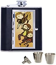 Supernatural Custom Personalized 6oz Pu Leather Flask Black Stainless Steel Funnel For Hip Flask
