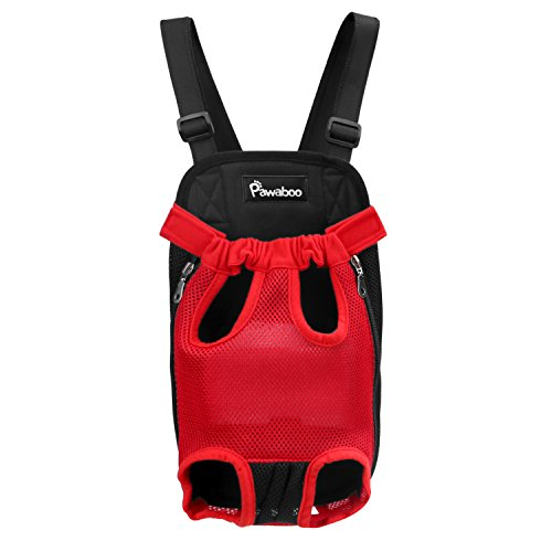 Pawaboo Pet Carrier Backpack, Adjustable Pet Front Cat Dog Carrier Backpack Travel Bag, Legs Out, Easy-Fit for Traveling Hiking Camping, Medium Size, RED