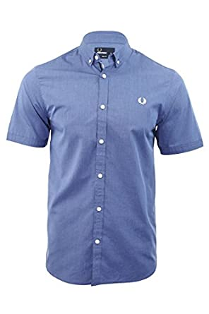 Fred Perry End on End Shirt in Mid Blue Small