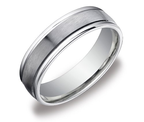 Men's 14k White Gold 6mm Comfort Fit Wedding Band with Satin Center Ring, Size 11