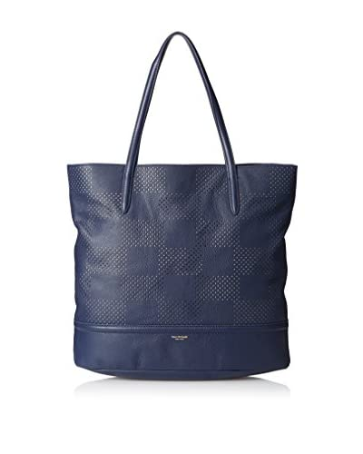 Isaac Mizrahi Women's Kay Check Perforated Tote, Navy