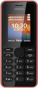 Nokia 108 Dual-SIM Handy (4,5 cm (1,8 Zoll) Farbdisplay, 0,3 Megapixel Kamera, UKW-Radio, Bluetooth) rot