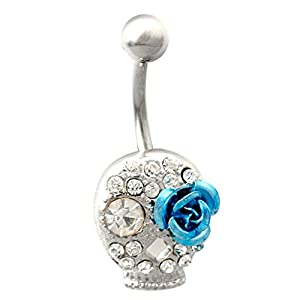 BODYA Surgical Steel 14g Paved Crystal Skull Blue Flower Navel Belly Button Ring Barbell+belly Retainer