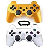 Wireless Bluetooth Controllers, Donop® Gaming pad joysticks include Donop Black silicone wristband for Sony PlayStation 3 Double Shock PS3 - Gold & Silver