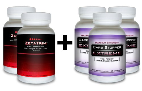 Zetatrim (2 Bottles) & Carb Stopper Extreme (3 Bottles) Best Combination For Quick Weight Loss. Maximum Strength Fat Burner Diet Pills Plus #1 Most Effective Carb And Starch Blocking Supplement