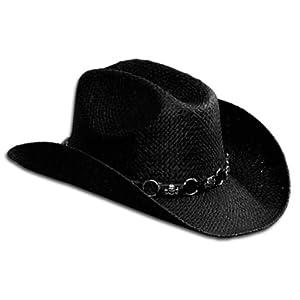 Hot Leathers Straw Cowboy Hat (Black)