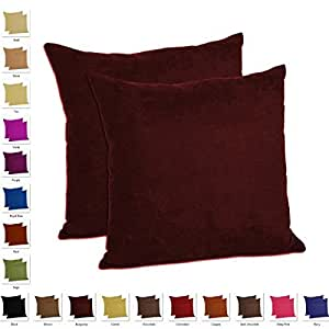 Burgundy Microfiber Throw Pillows : Amazon.com - Set of 2 - Faux Suede Microfiber Decorative Indoor Throw Pillow (18