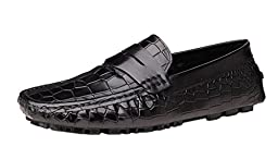 CAMSSOO Mens Handmade Slip On Loafer Flats Shoes Black Cow leather 10 M US