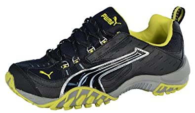 Puma Men's Darby Trail Racer Running Shoes-Black/Silver/Yellow-7