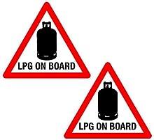 2 x LPG en triángulo campista remolque caravana etiqueta Consejo vinilo impreso etiquetas