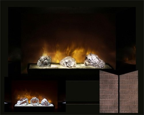 """Modern Flames Hf60Cbi Built In Electric Red Straight Brick Panel 60"""" Fireplace /W Crystal Glass Burners"""